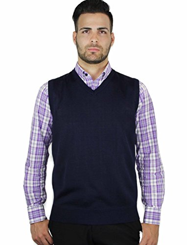 (Blue Ocean Solid Color Sweater Vest Navy Large)