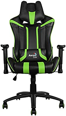 Aerocool AC120BG - Silla gaming profesional, ergonómica, altura regulable, verde