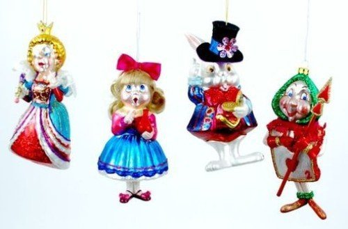 Storybook Fairy Tale Alice and Friends Christmas Holiday Ornament Set of 4 by One Hundred 80 Degrees