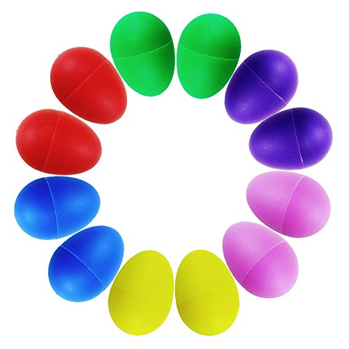 ISusser Plastic Ball Percussion Music Maracas Egg Kids Toys, 12 pcs, 6 color