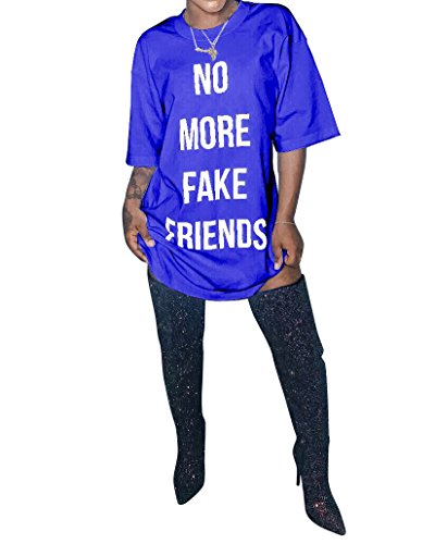 New Friends T-shirt - Womens No More Fake Friends Printed Short Sleeve Plus Size Clubwear Party T-Shirt Dress Blue XX-Large