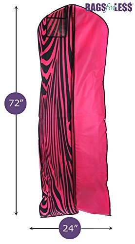 Hot Pink Zebra Wedding Gown Travel & Storage Garment Bag By Bags For Less – Soft, Breathable, Durable, Rip & Water Resistant Material – Extra Large Size With 10'' Gusset – Clear Vinyl Pouch