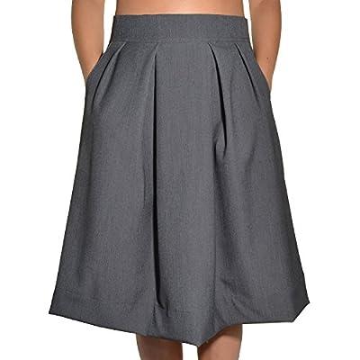 Avital Juniors Pleated Aline Knee Length Pockets Skirt