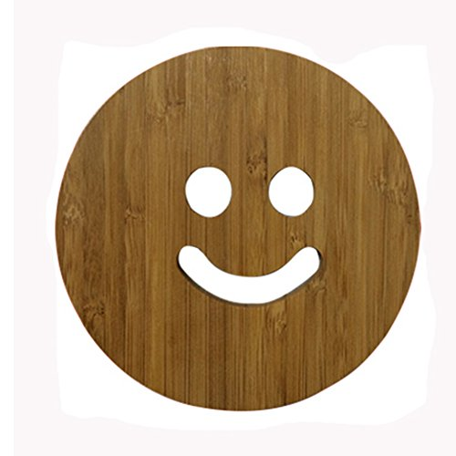 Lovely Moso Bamboo Place Mat/ Cup Mat/ Pot Holder, Smile Face, Set of 4