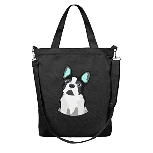 (Women 12.5X15 Inches Cute Zip Crossbody Canvas Large Tote Bag Funny Boston Terrier Beach Work Gym Book Lunch School Shopping Shoulder Handbag Washable and Eco-Friendly )