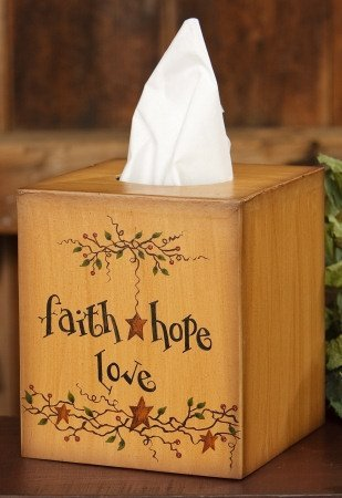 Faith Hope Love Tissue Box Cover - Country Tissue Boxes
