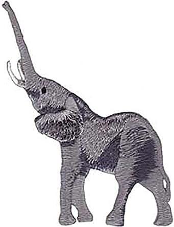 Novelty Iron On Patch - Animals - Elephant Upright- Logo Patch - Applique