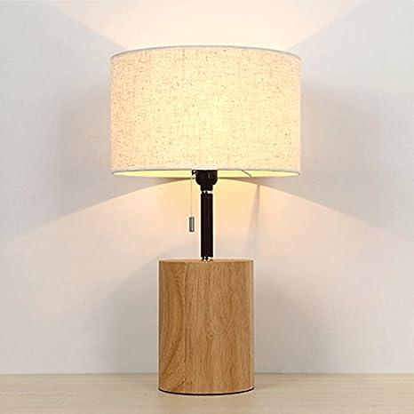 Zyn Solid Wood Table Lamp Bedroom Bedside Desk Lamp Fabric Art