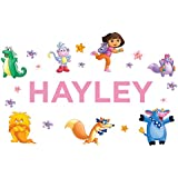 Oliver's Labels Personalized Dora the Explorer Kids Name Wall Decal Life Size