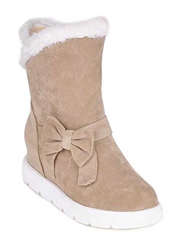 Chfso Womens Chaud Solide Arc Bout Rond Rehausser Mi-talon Plate-forme Bottes Dhiver Beige