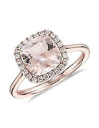 Dividiamonds Women Halo Engagement Ring 18K Rose Gold Finish Cushion Cut Morganite