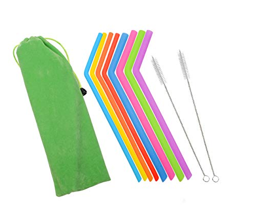 - MarcosWJH Reusable Silicone Straws Assorted 8 Colors, Package including 8 Set Eco-Friendly Reusable Drinking Silicone Straws with 2 Cleaning Brushes & Carrying Pouch
