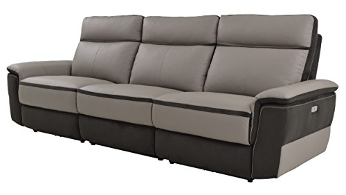 Homelegance Laertes Two-Tone Power Reclining Sofa Top Grain Leather Fabric Match, Light Grey ()