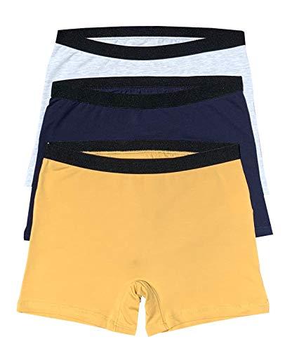 Women's 3 Pack Comfortable Cotton Bike Yoga Boxer Brief Boyshort (Large, Ocean) (Best Underwear For Yoga)