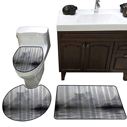 3 Piece Bathroom Rug Set Full Moon Moonlight Mystic Charm Sky Rainy Clouds Gray Dark Midnight Twilight Digital Photographs Print Home Villa Textile Clawfoot Tub Deluxe Elongated Toilet Lid Cover Set
