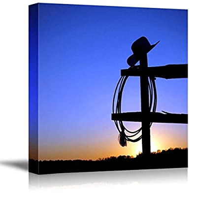 American West Rodeo Cowboy Hat Hanging on a Ranch Fence Post at Sunset - Canvas Art Wall Art - 24