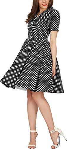 Años 50 'Sabrina' Vintage Negro de Lunares BlackButterfly Vestido 8nCPqxXwwv