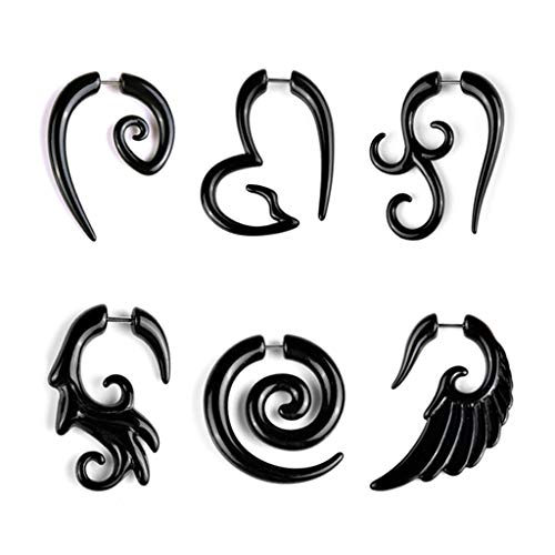 SCANGUL 6 PCS Black Acrylic Fake Cheater Twist Spiral Cool Ear Taper Gauges Expanders Earring Tunnel Plugs Body Piercing Horn Black Wing Feather Earrings