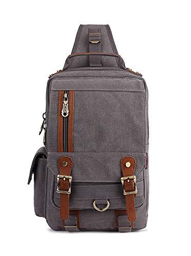 Messenger Sling - Canvas Leather Outdoor Sling Bag KAUKKO Cross Body Messenger Bag Shoulder Backpack Daypack Grey