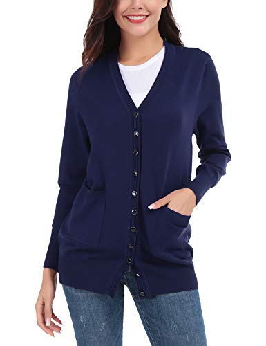 FISOUL Women's Cardigan V-Neck Button Down Knitwear Long Sleeve Soft Basic Knit Sweater(Navy,L) ()