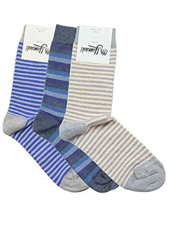 Mr. Yamasaki 3pk #21 (medium stripe/medley blue/salmon) 6-9 US M/8-11 W Shoe Size (39-42 EU)