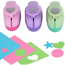 Paper Punch Hole Puncher -- (3 PACK Circle Heart Star) -- Personalized Paper Craft Punchers Shapes Set -- For Scrapbook Engraving Kids Artwork -- Greeting Card Making DIY Crafts