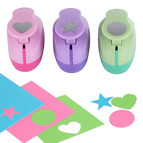 Paper Punch Hole Puncher -- (3 PACK Circle Heart Star) -- Personalized Paper Craft Punchers Shapes Set -- For Scrapbook Engraving Kids Artwork -- Greeting Card Making DIY Crafts (Scrapbook Page Snow)