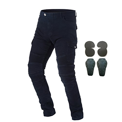 Men Motorcycle Riding Pants Motocross Racing Jeans with 4 Protect Pads Black M