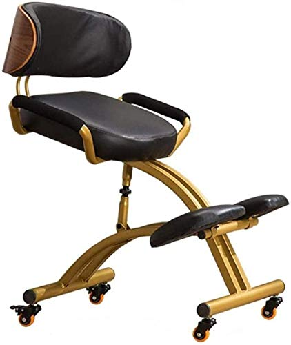 MRWW Empleo de Rodilla sillas de Oficina Ajustables, heces Postura ergonomica ortopedica con Cojines de Respaldo y apoyabrazos de Cuero sintetico Mejorar la Postura con un Asiento en angulo,Negro