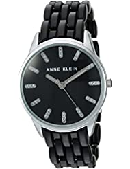 Anne Klein Womens AK/2617BKSV Glitter Accented Silver-Tone and Black Transparent Resin Bracelet Watch