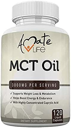MCT Oil Capsules Softgels Keto Support 3000mg- Keto Diet Pills- Caprylic Acid Capsules- Ketogenic Diet Support for Men Women- Made in USA – 120 Softgels by Amate Life