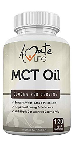 MCT Oil Capsules Softgels Keto Support 3000mg- Keto Diet Pills- Caprylic Acid Capsules- Ketogenic Diet Support for Men & Women- Made in USA - 120 Softgels by Amate Life