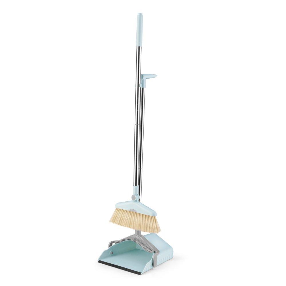 IRISES Sweep Set Brush Set Rotatable Broom and Dustpan kit Dust Foldable Set with Broom Holder mop Holder Lobby Broom Combo