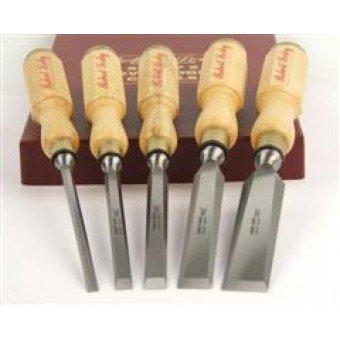 5167 Robert Sorby Set of 5 Octagonal Boxwood Handled Bevel Edged Chisels by Robert Sorby (Chisel Handled Set)