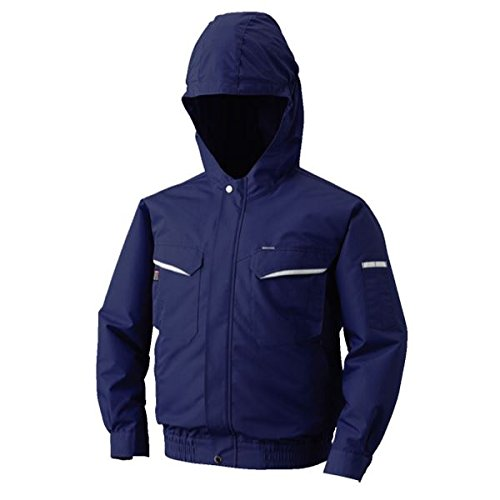 空調服 フード付綿ポリ混紡 長袖ワークブルゾン リチウムバッテリーセット BK-500FC03S3 ネイビー L  B06XZL62YR