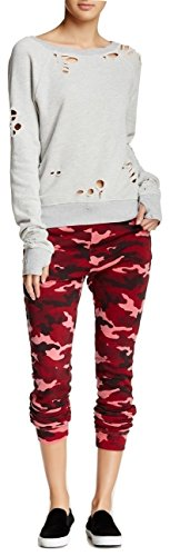 Pam & Gela Women's Betsee Sweatpant in Red Pink Camo Size Small by Pam & Gela