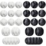 24 Pieces Black&White Cable Clips, Viaky Strong 3M Adhesive Desk Wire Management Cable Organizer Wire Holder…