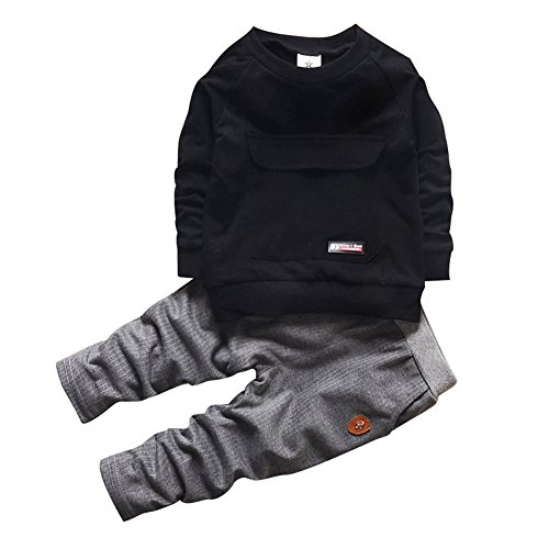 - 2016 Baby Boys Kids 2 Pieces Fall Clothing Set T-Shirt Pants Outfits(Black,3-4 years)