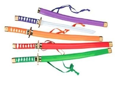 Neon Ninja Child Costumes (Fun Express Neon Plastic Samurai Swords (1 Dozen))