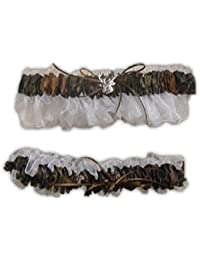 White Sheer Camouflage Bridal or Prom Garter Set with Deer Head