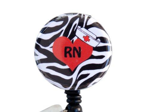 "Zebra Love RN/CNA/Student Nurse 1.25"" Badge Reel/ Retractable Badge Reel/ ID Badge Holder (RN)"