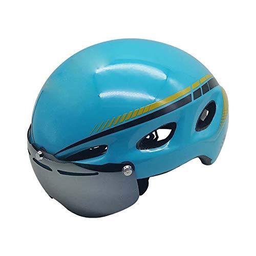 barato y de alta calidad azul M Casco de Bicicleta Montar Bicicleta Bicicleta Bicicleta de montaña Camino de Seguridad para Adultos Gafas magnéticas integradas  tiempo libre