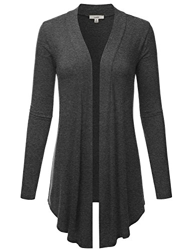 (LALABEE Women's Draped Open-Front Long Sleeve Light Weight Cardigan-Charcoal-M)