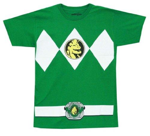 Mighty Morphin Power Rangers Costume Men's T-shirt (XXL, Green) (Power Rangers Green Ranger Costume)
