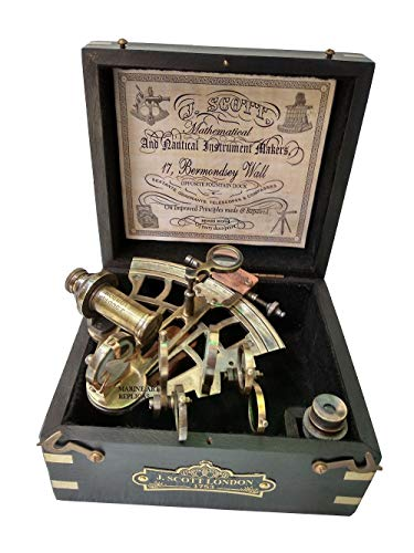 J. Scott London Brass Ship History Sextant with Hardwood Box. Vintage Solid Antique Brass Nautical Functional Maritime Sextant | Nautical Navy Decor Gifts. from US HANDICRAFTS