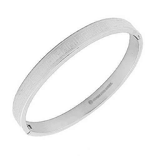 My Daily Styles Stainless Steel Silver-Tone Greek Key Bangle Bracelet