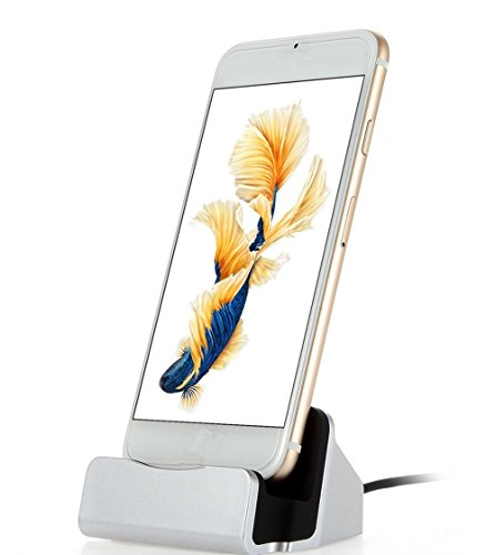 Xixihaha For iPhone Charger Sync Stand Charge Cradle Charger Station Dock Desktop for iPhone 8/8 Plus/7/7plus/6/6s/6plus/5/5s/SE with Charger Cable(Sliver)