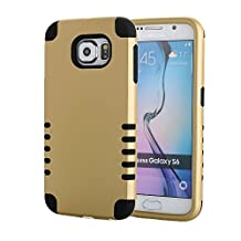 Galaxy S6 Case, Pandawell™ 3-piece 3 in 1 Combo Hybrid Defender High Impact Body Armor Hard PC & Silicone Rubber Case Protective Cover for Samsung Galaxy S6 G920 with Screen Protector & Stylus (3 piece-Gold/Black)