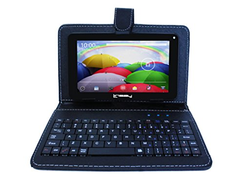 LINSAY NEW F7XHDBK Quad Core with Black Leather Keyboard Dual Cam 8 GB Android 4.4 Kit Kat