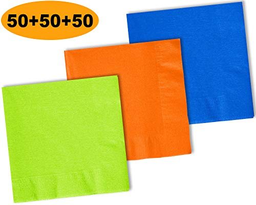 (150 Beverage Napkins, Lime Green, Pumpkin Orange, Cobalt Blue - 50 Each Color. 2 Ply Paper Cocktail Napkins. 5